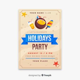 Panfleto de festa de verão tropical plana