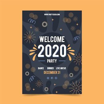 Panfleto de festa desenhada de mão ano novo 2020