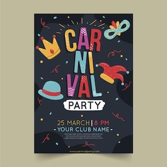 Panfleto de festa desenhada de mão de carnaval