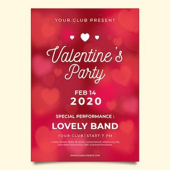 Panfleto de festa do dia dos namorados turva