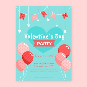 Panfleto de festa dos namorados de design plano com balões