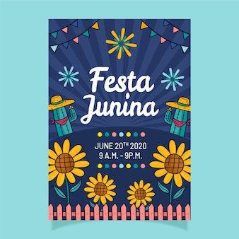 Panfleto de festa junina desenhada de mão