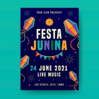 Panfleto de festa junina plana