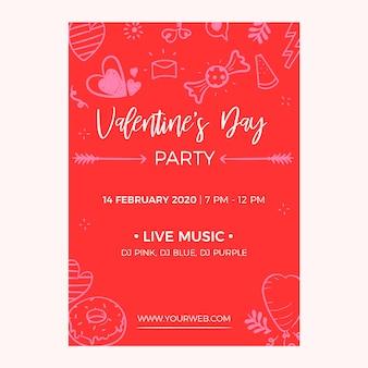 Panfleto de festa mão desenhada dia dos namorados