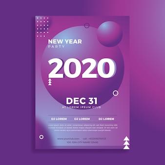 Panfleto de festa modelo abstrato ano novo 2020