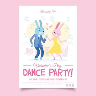 Panfleto de festa modelo dia dos namorados desenhados à mão