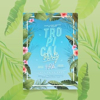 Panfleto de festa modelo tropical