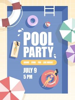 Panfleto de festa na piscina com pessoas relaxantes e banhos de sol.