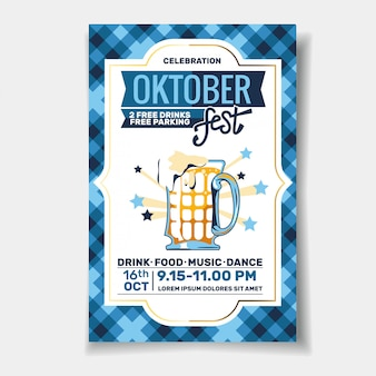 Panfleto de festa oktoberfest ou convite de design de modelo de cartaz para a celebração do festival de cerveja