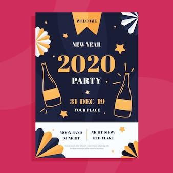 Panfleto de festa plana ano novo 2020