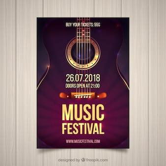Panfleto de festival de música com guitarra em estilo realista