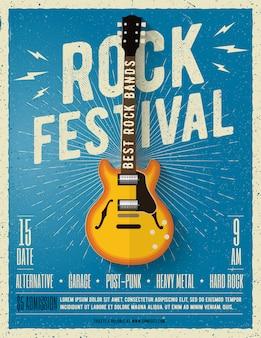 Panfleto de festival de música rock. ilustração.
