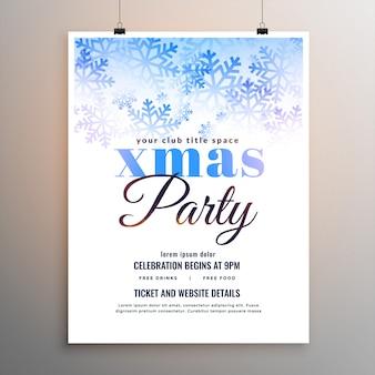 Panfleto de flocos de neve branca de festa de feliz natal