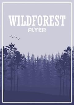 Panfleto de floresta de coníferas selvagem