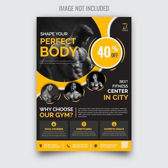 Panfleto de ginásio moderno criativo fitness
