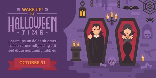Panfleto de halloween com vampiros dormindo em caixões