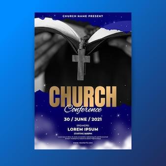 Panfleto de igreja em gradiente com foto