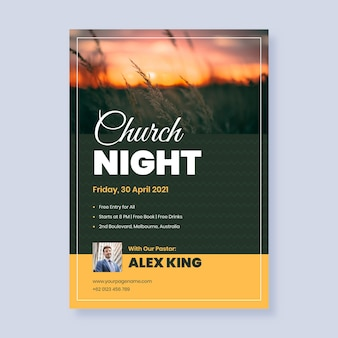 Panfleto de igreja plana com foto