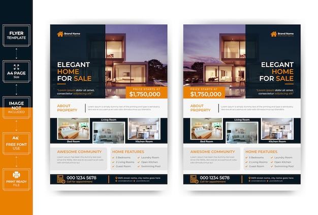 Panfleto de imóveis criativos e limpos para negócios imobiliários e imobiliários