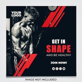 Panfleto de mídia social fitness