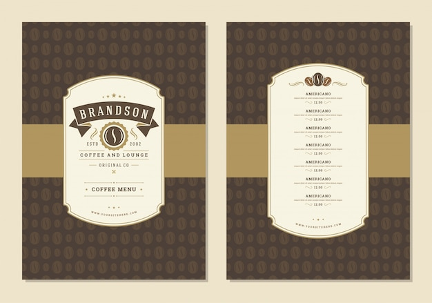 Panfleto de modelo de design de menu café para café com café feijão símbolo e elementos de decoração tipográfica vintage.