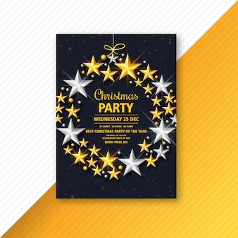 Panfleto de natal com modelo de estrelas brilhantes