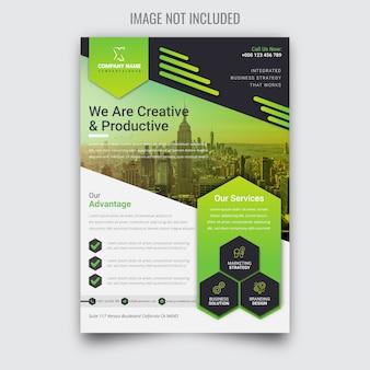 Panfleto de negócios verdes corporativos criativos