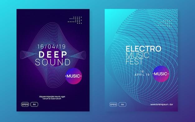 Panfleto de néon de evento de dj. festa de techno trance. electro dance music. e