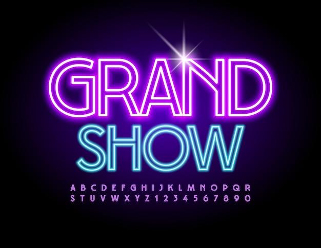 Panfleto de néon grand show fonte brilhante brilhante luz elétrica conjunto de letras e números do alfabeto