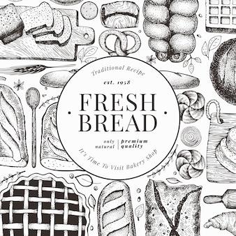 Panfleto de pão e pastelaria