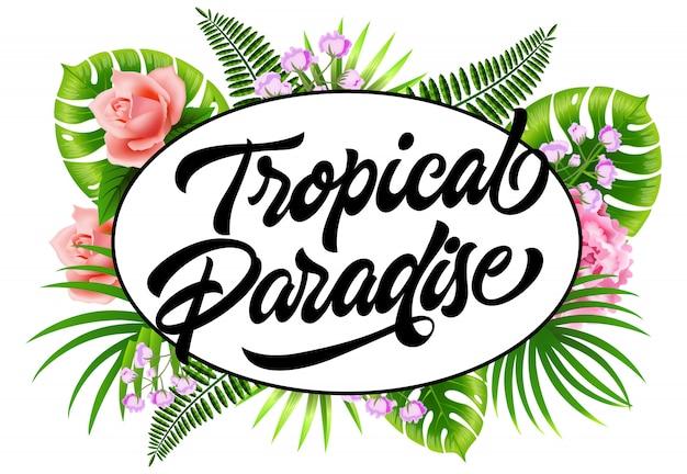 Panfleto de paraíso tropical com folhas de palmeira e flores.