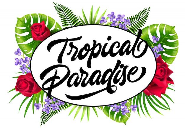 Panfleto de paraíso tropical com folhas exóticas, lilás e rosas.