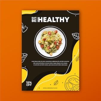 Panfleto de restaurante de comida saudável com foto