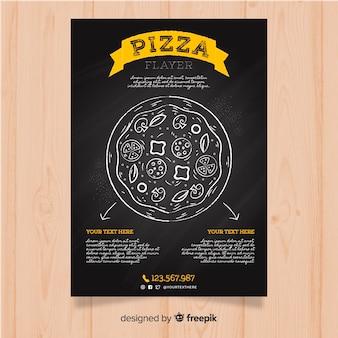 Panfleto de restaurante de pizza de quadro-negro