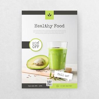 Panfleto de restaurante deliciosa comida saudável com foto