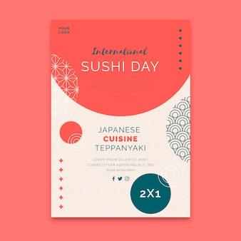 Panfleto de restaurante japonês vertical