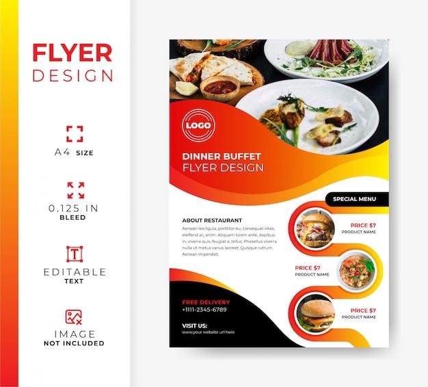 Panfleto de restaurante, modelo promocional de comida, modelo de oferta de buffet