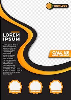 Panfleto de restaurante moderno com forma abstrata de gradiente amarelo