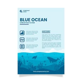 Panfleto de restaurante oceano azul