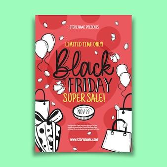 Panfleto de sexta-feira negra desenhada de mão