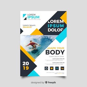 Panfleto de surf esporte com foto
