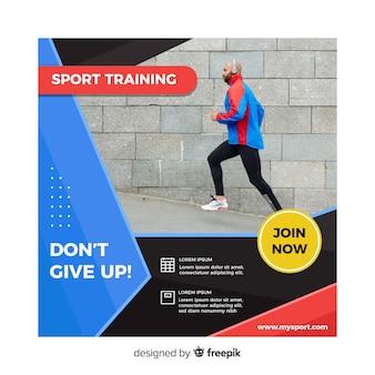 Panfleto de treinamento esportivo com foto