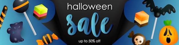 Panfleto de venda de halloween com doces e pirulitos