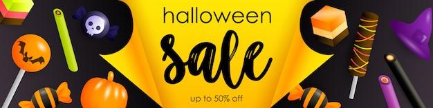 Panfleto de venda de halloween com doces festivos