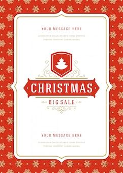 Panfleto de venda de natal ou banner de desconto ofertas e flocos de neve padrão com decoração ornamentada