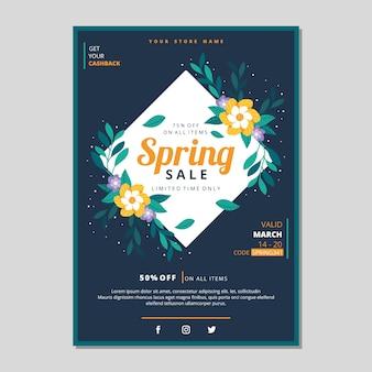 Panfleto de venda de primavera de design plano com flores amarelas
