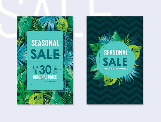Panfleto de venda verão conjunto com padrão de folhas exóticas tropicais. panfletos verticais com monstera, palm, banana em fundo preto zig zag.