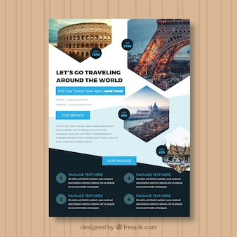 Panfleto de viagem com foto de destinos