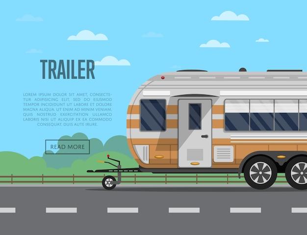 Panfleto de viagem com reboque de acampamento