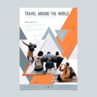Panfleto de viagem moderno com foto